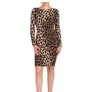 Carmen Marc Valvo Animal Print Ruched Dress